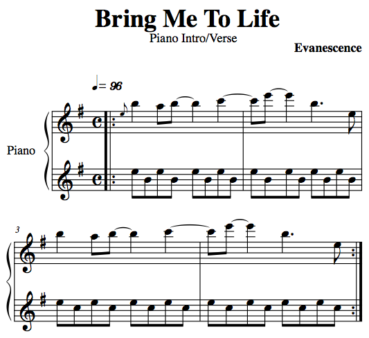 how to play bring me to life on piano